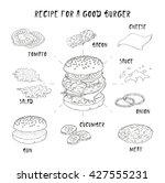 recipe for a good burger.... | Shutterstock .eps vector #427555231