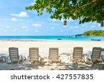 beach chair on a beach with a... | Shutterstock . vector #427557835