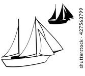 sailing yacht character icon.... | Shutterstock .eps vector #427563799