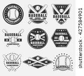 set of vintage baseball logo ... | Shutterstock .eps vector #427584901