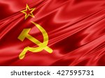 ussr  flag of silk 3d... | Shutterstock . vector #427595731