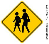school   yellow square warning... | Shutterstock .eps vector #427597495