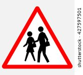 school   red triangle warning... | Shutterstock .eps vector #427597501