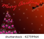 Red Christmas tree with flying Santa - stock photo