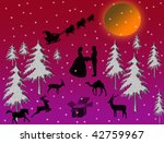 Christmas illustration with flying Santa tree couple silhouette and animals - stock photo