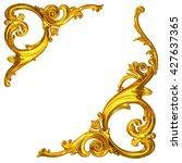 3d illustration  of golden corner ornaments on a white background