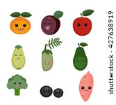 cartoon smiling fruits and... | Shutterstock .eps vector #427638919