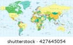 detailed political world map.... | Shutterstock .eps vector #427645054