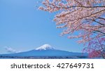 mount fuji and cherry blossoms... | Shutterstock . vector #427649731