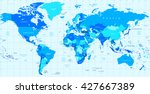 detailed vector world map of... | Shutterstock .eps vector #427667389
