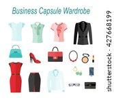 businesswoman capsule wardrobe  ... | Shutterstock .eps vector #427668199