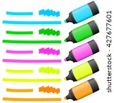 different colored high lighters ... | Shutterstock .eps vector #427677601