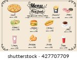 restaurant fast foods menu on... | Shutterstock .eps vector #427707709