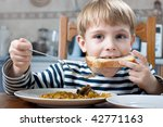 Little Beautiful Boy Eating