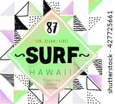 vintage watercolor summer surf... | Shutterstock .eps vector #427725661