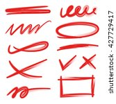 set of red underlines lettering ... | Shutterstock .eps vector #427729417