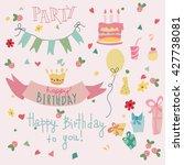 set of vector birthday party... | Shutterstock .eps vector #427738081