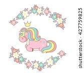 cute magic kawaii unicorn in... | Shutterstock .eps vector #427759825