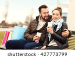 picture of young couple sitting ... | Shutterstock . vector #427773799