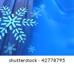 abstract 3d illustration of blue background with snowflakes - stock photo