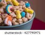 Stock photo marshmallow cereal in a blue bowl 427790971