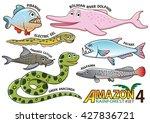 set of cute cartoon animals and ... | Shutterstock .eps vector #427836721