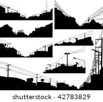 Set of detailed editable vector silhouettes of urban streets - stock vector