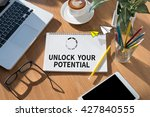 unlock your potential open book ... | Shutterstock . vector #427840555