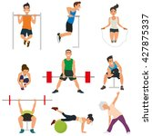empty gym with exercise... | Shutterstock .eps vector #427875337