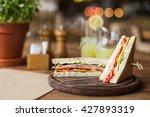 big  tasty sandwich with ham ... | Shutterstock . vector #427893319