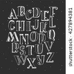 set of white 3d alphabet on... | Shutterstock .eps vector #427894381