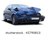 A Blue Wrecked Car Isolated On...