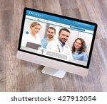 view of a wood doctor's desk in ... | Shutterstock . vector #427912054