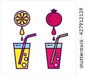 the fresh juice. icon set ... | Shutterstock .eps vector #427912129