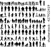 big set of people silhouettes ... | Shutterstock .eps vector #427922419