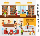 library interior with people ... | Shutterstock .eps vector #427926991