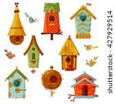 set of multi colored birdhouses ... | Shutterstock .eps vector #427929514