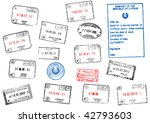 set of different passport visa... | Shutterstock . vector #42793603
