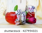 jam jar and rose flower adapted ... | Shutterstock . vector #427954321