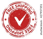 free shipping red rubber stamp... | Shutterstock .eps vector #427957351
