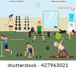 empty gym with exercise... | Shutterstock .eps vector #427963021