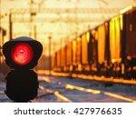 railway traffic light at sunset ...   Shutterstock . vector #427976635