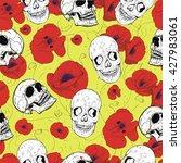 skulls and flowers | Shutterstock .eps vector #427983061