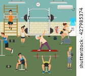 empty gym with exercise... | Shutterstock .eps vector #427985374