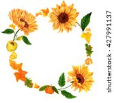 Greeting Card With Wreath Of...
