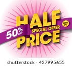 half price sale concept with... | Shutterstock .eps vector #427995655