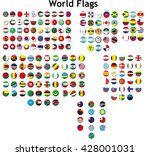 world flags in badges style | Shutterstock .eps vector #428001031