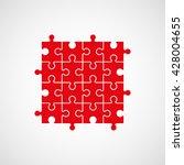 sixteen piece flat puzzle... | Shutterstock .eps vector #428004655
