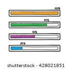 hand drawn progress bar. doodle ... | Shutterstock . vector #428021851