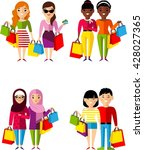 set of shopping concept couple ... | Shutterstock .eps vector #428027365